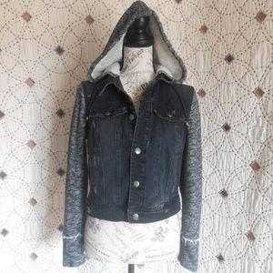 EUC Free People Black Denim & Knit Jacket S